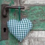 Checkered textile heart — Stock Photo
