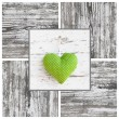 Handmade green dotted heart shape and wooden frame - handmade - greeting card for birthday or card just to say thank you — Stock Photo