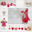 Collage of red and white christmas decoration — 图库照片