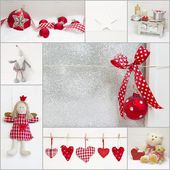Collage of red and white christmas decoration — ストック写真