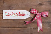 Thank you greeting card with a red white rustic checkered ribbon in country or shabby chic style on a white wooden sign — Stock Photo