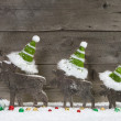 Christmas card with wooden elk — Stock Photo