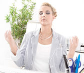 Meditation during lunch — Stockfoto