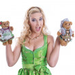 Bavarian woman with teddy bear — Stock Photo