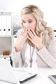 Chockad affärskvinna — Stockfoto