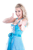 Bavarian blonde thumbs up — Stockfoto