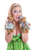 Bavarian Girl with teddy bears — Stock Photo