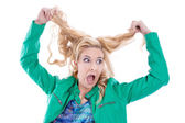 Blond woman insane — Stock Photo