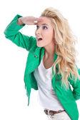 Sebevědomá žena vypadá daleko — Stock fotografie