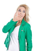 Young woman is shocked — Stock Photo