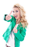 Blond woman thumbs up — Stock Photo