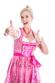 Woman in Dirndl with thumbs up — Stock Photo