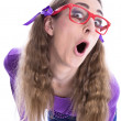 Naughty girl with glasses  — Stock Photo