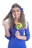 Flicka med lollipop — Stockfoto