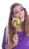 Flicka med lollipop — Stockfoto