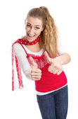 Woman thumbs up — Stock Photo