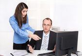 Misunderstanding under men and woman - businessman have a discussion — Stock Photo