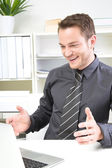 Successful man in job — Stock Photo