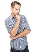 Zmatená mladý muž — Stock fotografie