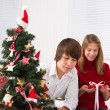 Kids at Christmas — Stockfoto