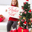 Merry Christmas wish a little girl — Stock Photo