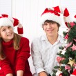Brother and sister at Christmas — Stock Photo