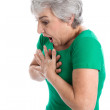 Woman has difficulty breathing — Stock Photo #35748905