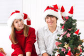 Brother and sister at Christmas — Stockfoto