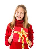 Girl with a Christmas gift — Stock Photo