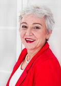 Attractive lady with gray hair — Stockfoto