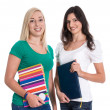 Two caucasian isolated woman like students. — Stock Photo