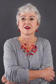 Attractive woman with gray hair — Stock Photo