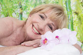 Relaxed elderly woman — Foto Stock