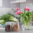 Stock Photo: Vegetables and tulips