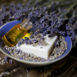 Lavender oil and lavender soap — Stock Photo