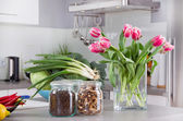 Vegetables and tulips — Stock Photo