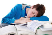Man is asleep in learning — Stock Photo