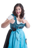 Woman in dirndl thumbs up — Stock Photo