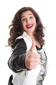 Successful woman with thumb up — Stockfoto