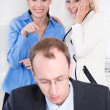 Bullying at workplace - woman and her boss. — Foto de Stock