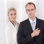 Successful teamwork - man and woman - good cooperation. — Stock Photo
