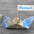 Paperboat with a time-out sign — Stock Photo