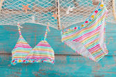 Bikini hanging from fishing net — Stockfoto