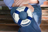 Lifebuoy or life-belt concept for cruising, sailing or teamwork — Stock Photo