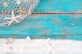Starfish and seashells with fishing net — Stockfoto