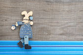 Wooden blue rabbit decoration — Stock Photo