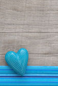 Blue heart wooden background — Stockfoto