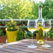 White wine served for two in garden. — Stock Photo