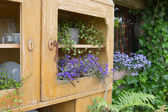 Old cupboard with flowers — Stockfoto