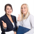 Successful bussineswomen thumbs up and smiling on white — Stock Photo